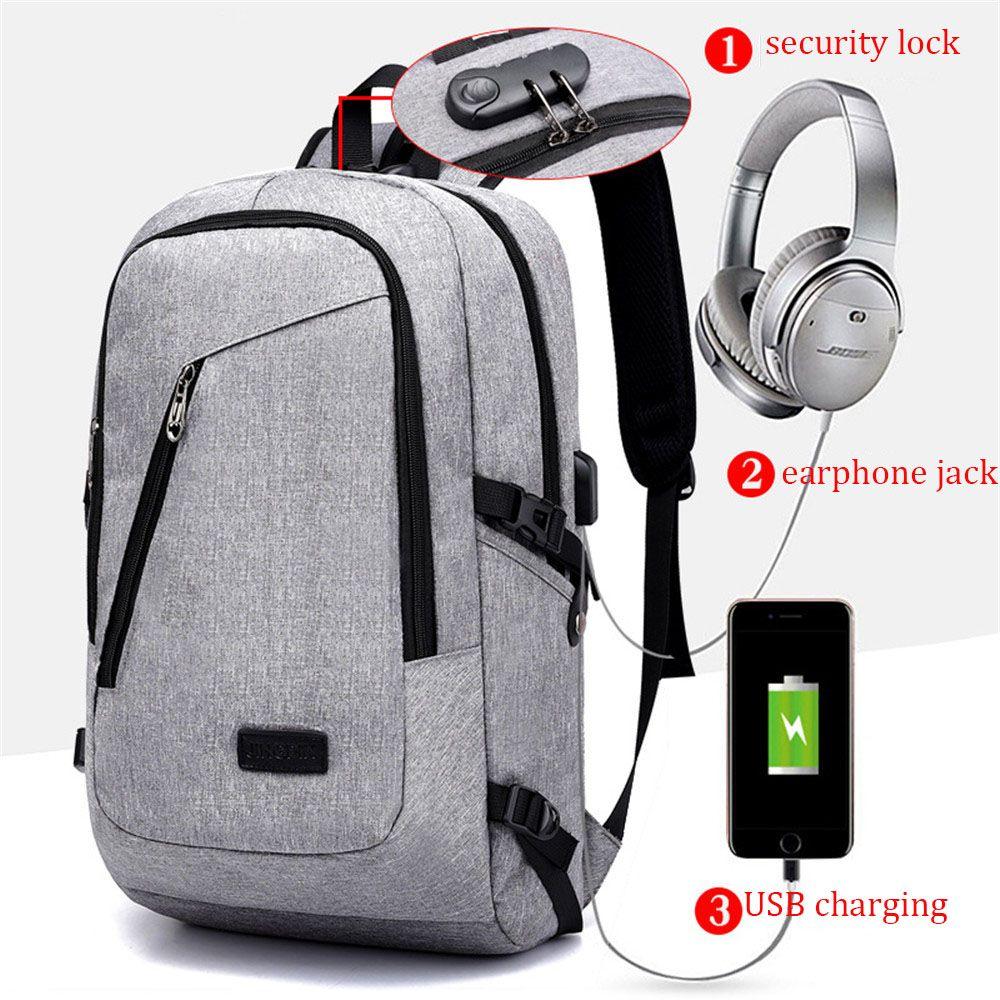 1 Pc Usb Lade Rucksäcke Casual Leinwand Laptop Computer Rucksack Diebstahl Lagerung Sack Business Reise Mann Frauen Schulter Taschen