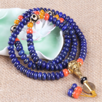 Sennier alta calidad 8mm 108 lapislázuli cuentas pulseras Buda oración pulsera para meditación collar de piedra azul natural