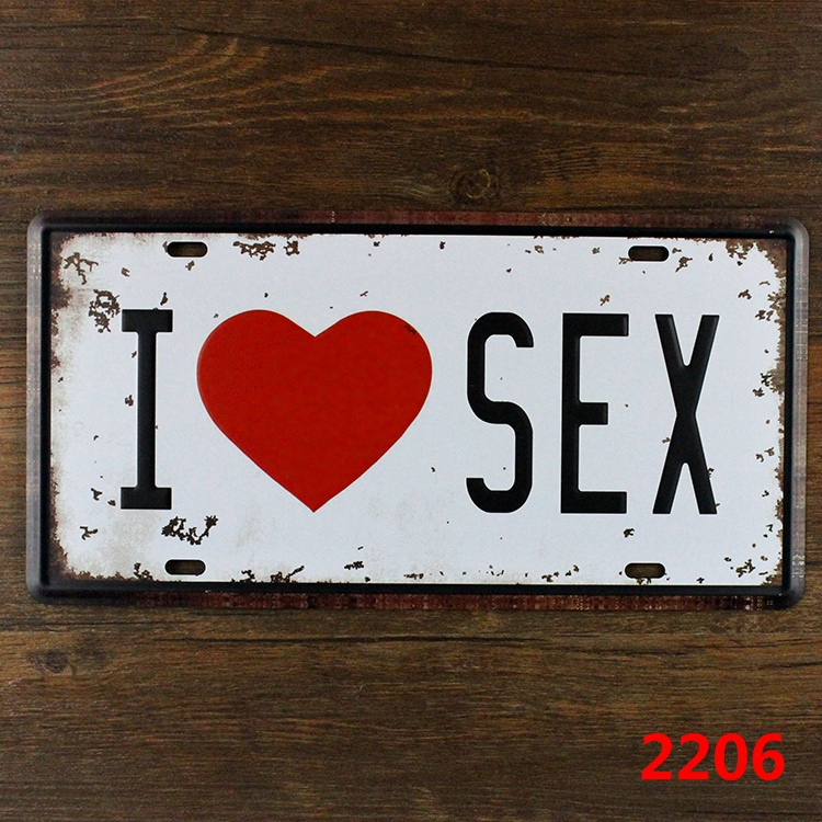 Vintage Metal painting tin signs I LOVE SEX Cafe Bar pub home decor retro painting 15*30 CM