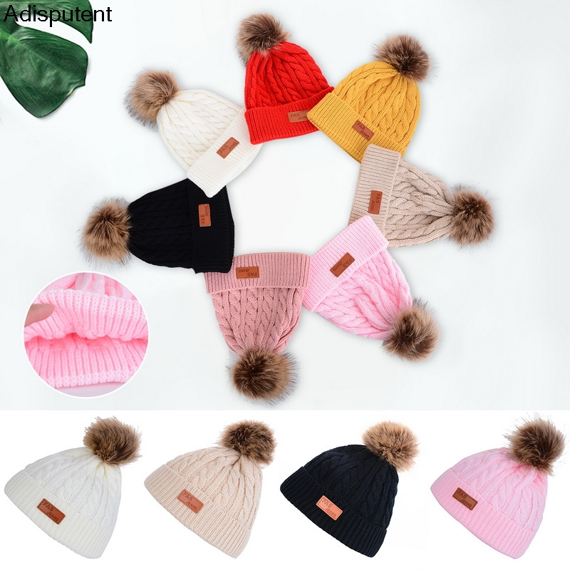 Adisputent Winter 6 Colors Fashion Children Woolen Warm Knit Hat Infant Toddler  Crochet Hairball Beanie Cap 2019 new fashion(China)