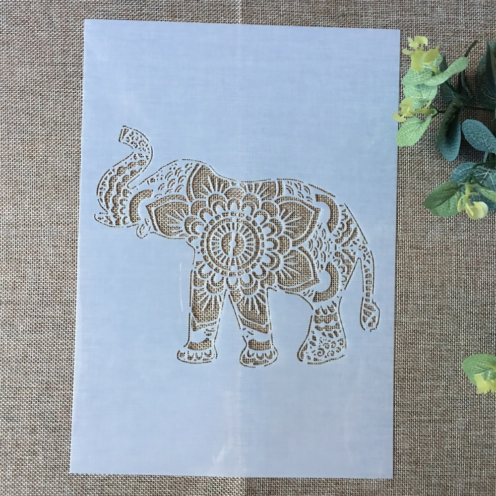 29*21cm Elephant Up Nose DIY Layering Stencils Wall Painting Scrapbook Coloring Embossing Album Decorative Paper Card Template
