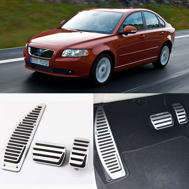 Brand New 3pcs Aluminium Non Slip Foot Rest Fuel Gas Brake Pedal Cover For Volvo S40 AT 2007-2016 brand new 3pcs aluminium non slip foot rest fuel gas brake pedal cover for audi q3 at 2013 2016