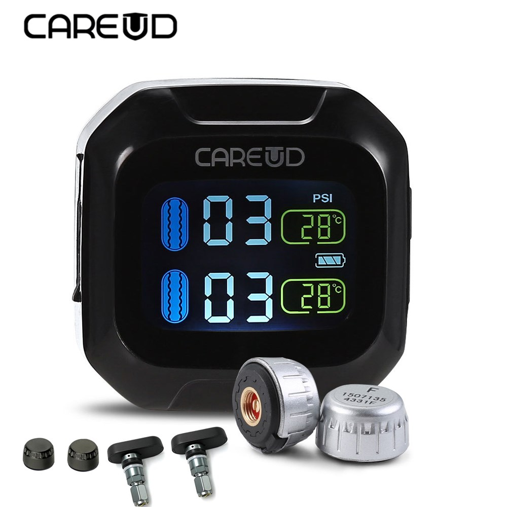 Careud M3 TH WI TPMS Motorcycle Motorbike LCD Screen Display Tire Pressure Monitoring System Support Real