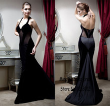 Halter Ausschnitt Exposed Boning Durchsichtig Zurück Black Prom Kleider Meerjungfrau Sexy Abendkleid vestido longo kleid