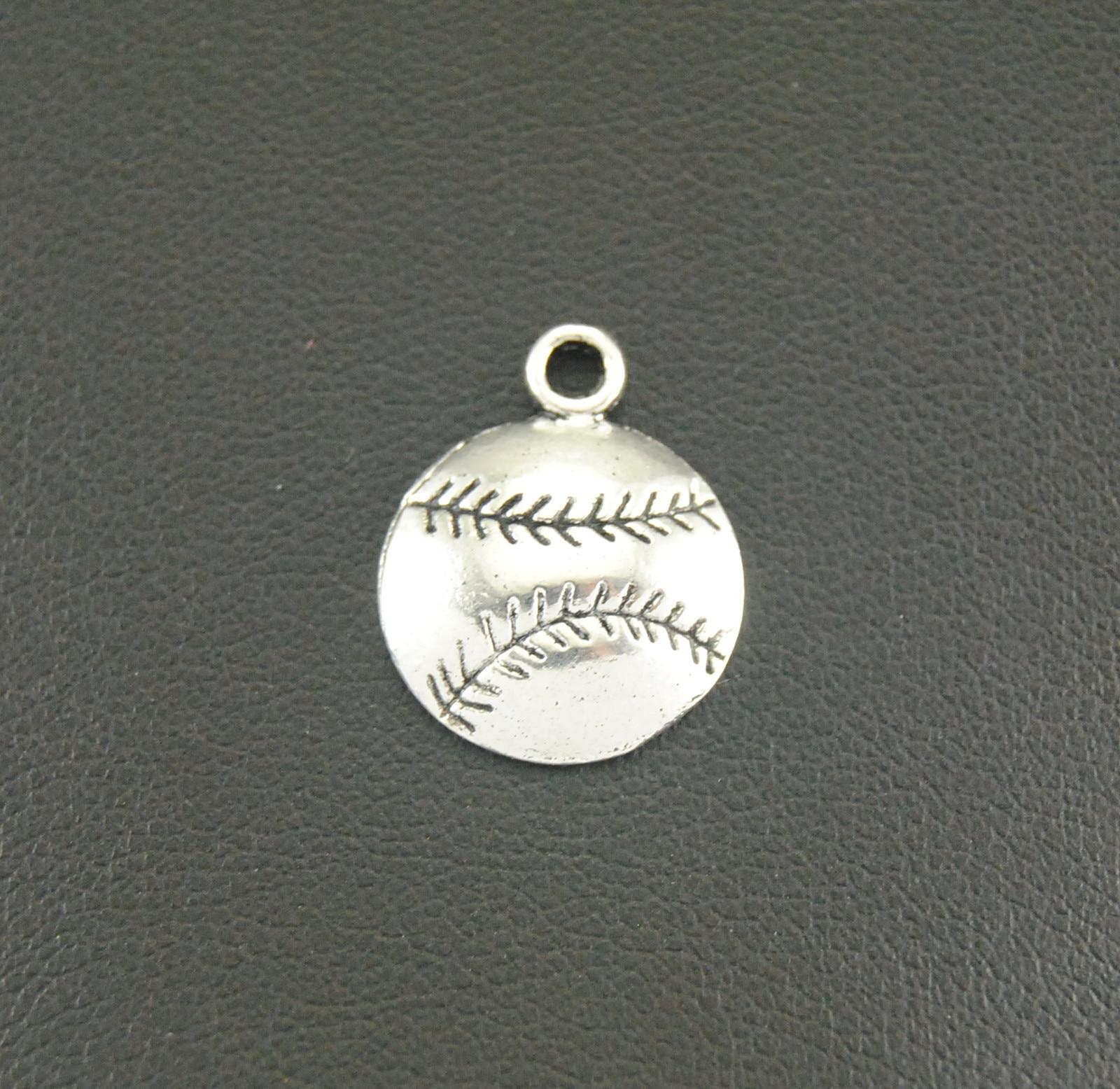 ⊰30 unid Tono de plata antiguo béisbol Amuletos metal pulsera