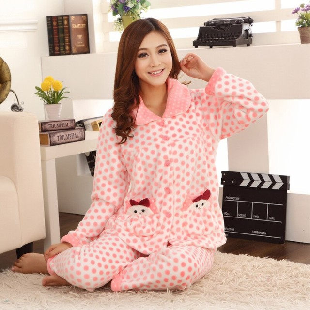 93bf8a322d 2017 autumn and winter pajamas women coral cashmere cardigan large yards  home clothing suit thickening warm