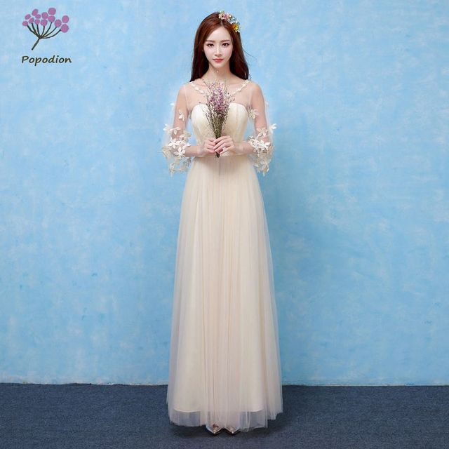 champagne bridesmaid dresses long for wedding guests sister party ...