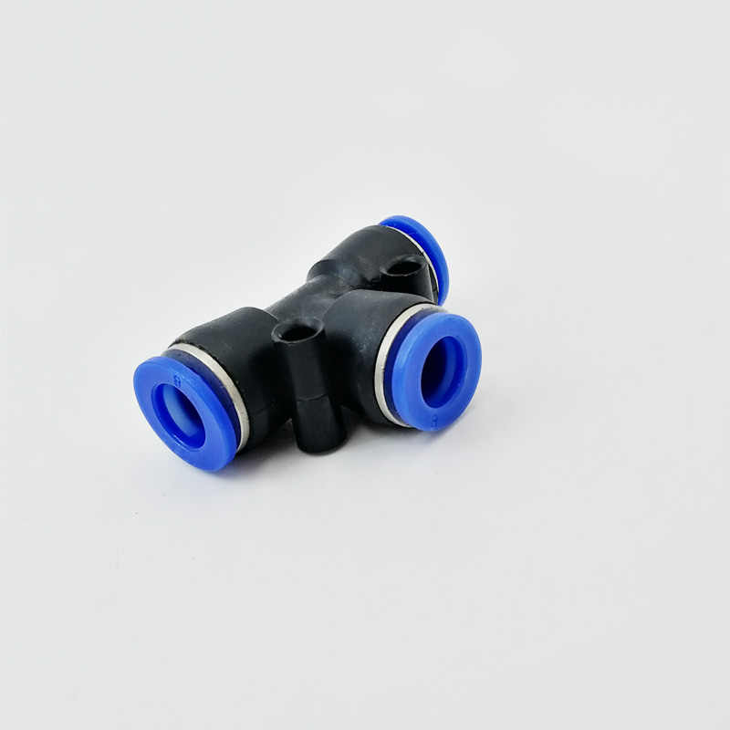 PE-08 3 Way Port T Shape Hose Tube Push in Gas Plastic Pipe Fitting Connectors Quick Fittings Air Pneumatic 8mm OD