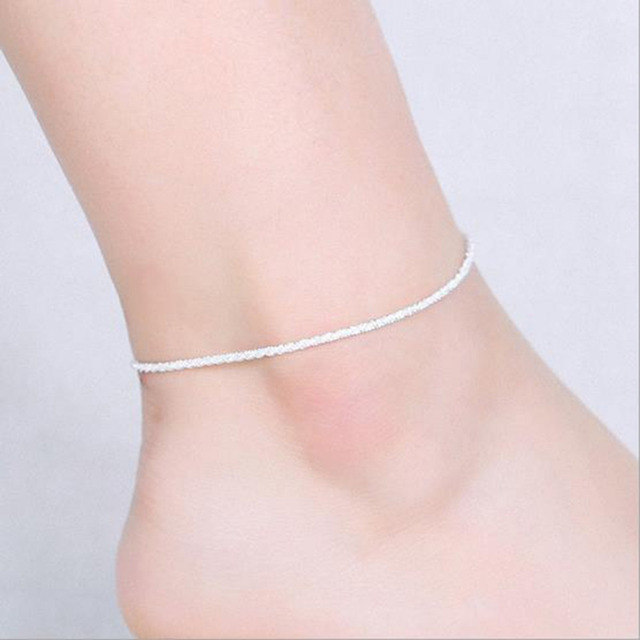 6 Style Simple Design Fashion Silver Color Ankle Bracelet Chain Link