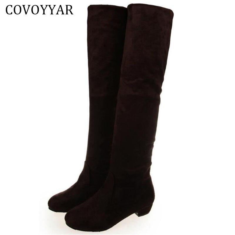 Covoyyar 2017 из флока сапоги до колена Для женщин три одежда стрейч Сапоги и ботинки для девочек модные зимние Slim Fit женские слипоны размер 40 wbs232
