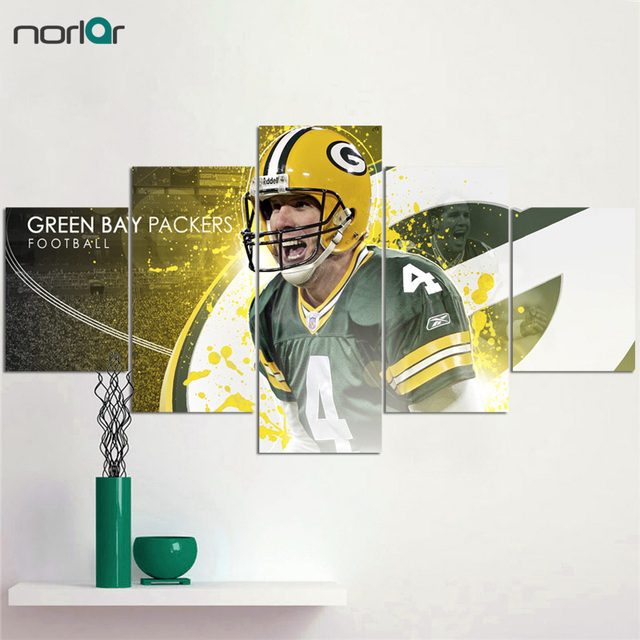 Canvas Prints New Green Bay Packers 5 Pieces Painting Wall Art Home Decor Panels Sport Poster For Unframed