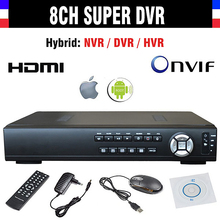 New CCTV DVR 8 Channel H.264 8CH 720P AHD Super SDVR / HVR/ NVR 4in1 Video Recorder support Onvif 1080P HDMI Output