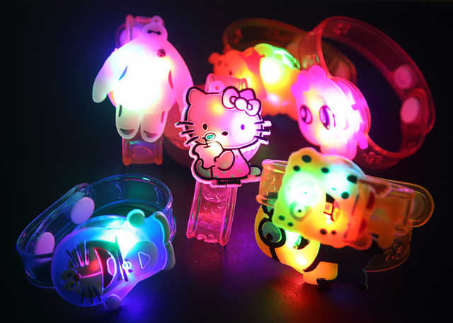 12PCS  Hello Kitty minions Glow wrist bracelet  birthday party decoration kids baby shower party favors girl boy gift supply