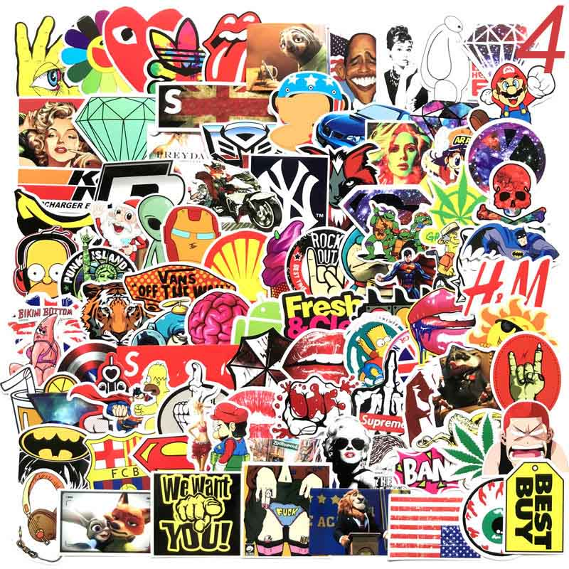 100 Pcs Mixed Cartoon Toy Stickers  Car Styling Bike Motorcycle Phone Laptop Travel Luggage Cool Funny Sticker Bomb JDM Decals