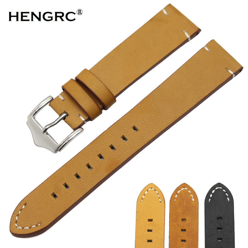 Retro Genuine Leather Watchband Strap 18mm 20mm 22mm Black Dar Brown Women Men Belt With Silver Stainless Steel Buckles