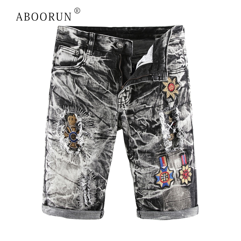 ABOORUN Men's Ripped Denim Shorts Retro Embroidery Snowflake Washed Jeans Shorts Summer Brand Shorts For Male R590
