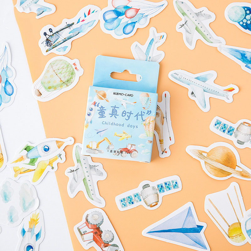 46Pcs Cute Childhood Stationery Stickers Bullet Journal Paper Sticker Kawaii Airplane Stickers For Kids DIY Scrapbooking Diary