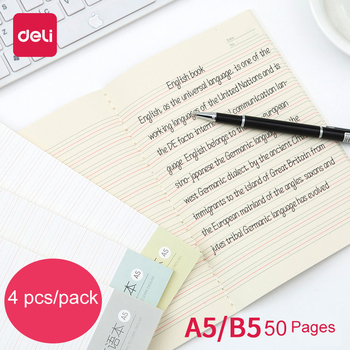 Deli 4 pcs/pack 50 page A5 B5 English book Student soft copy notebook Suture line book Practice English Book For Children Adult english for the financial sector student s book
