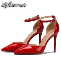 Stylesowner Hot Selling Red White Color Shallow Classic Woman Shoes Stiletto High Heels Sexy Patent Leather Pumps Shoes Woman