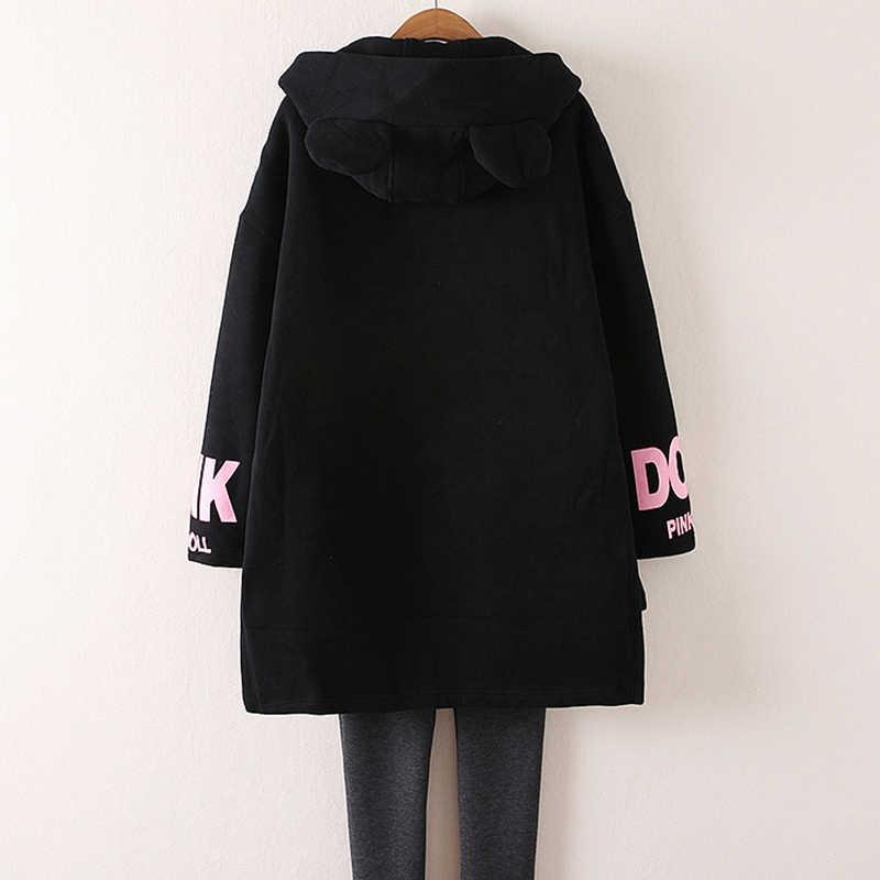 秋の冬の女性のコートの Mediun ロングセクションフード付きプリントジップアップジャケット大サイズ L-4XL 長袖女性コート DD626