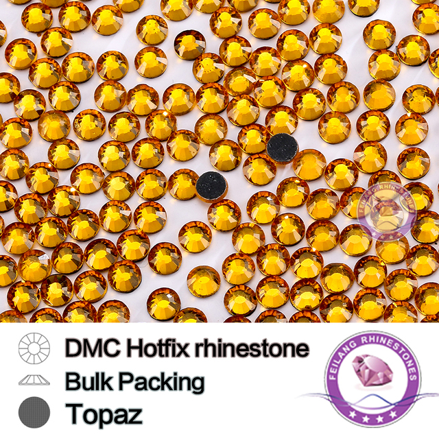 Topaz SS6 SS10 SS16 SS20 SS30 Bulking Packing HotFix Rhinestone For Garments Bags And Shoes