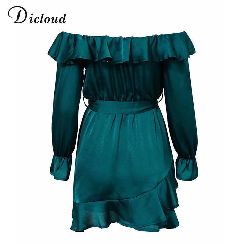 Dicloud с плеча атласное платье женщины лето осень сексуальное шнуровке оборками платье с длинным рукавом 2019 шелковое бальное платье женский
