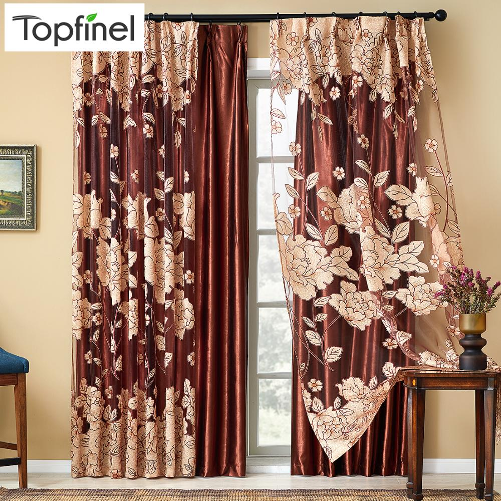 Top Finel Modern Luxury Embroidered Sheer Curtains For Living Room Bedroom Kitchen Door Tulle Window Curtains Window Treatments