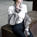2017 Primavera Nueva Personalidad Diseño Coreano Nueva Camisa Blusa de Algodón Doble Mangas de Empalme Blusa de Un Solo pecho Tops Camisa de Las Mujeres