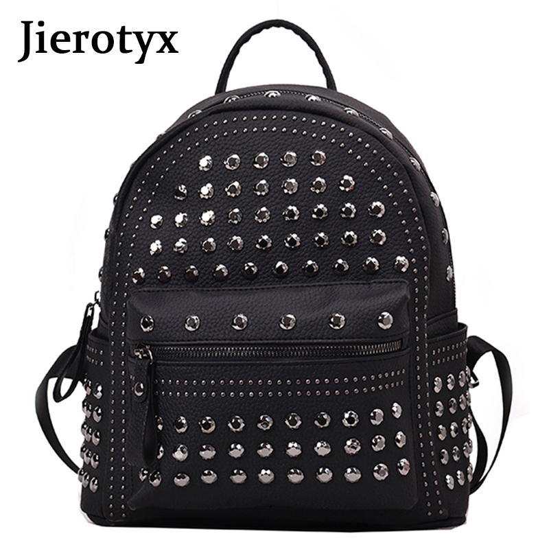 JIEROTYX 2019 New Arrival Preppy Leisure Backpack Womens Casual Daypacks Women Soild Zipper Rivet Shoulder Bags Soild Hot Sale
