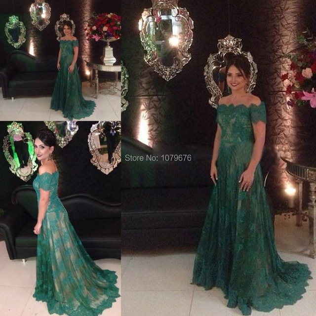 b7bba8260459 Dark Green Off The Shoulder Elegant Formal Evening Dress With Sleeves Lace  Prom Gowns Long Party Dresses For Weddings