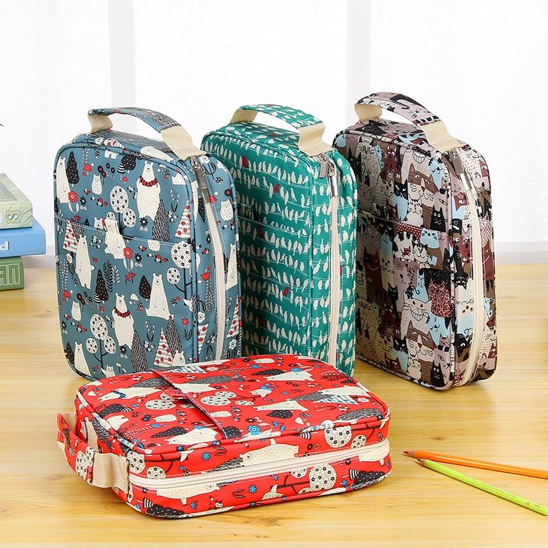 150 Slot Creative Large Capacity Cute Cartoon Floral Print Multifunctional Pencil Bag Pen Box Pencil Case Art Supplies penguin print pencil case