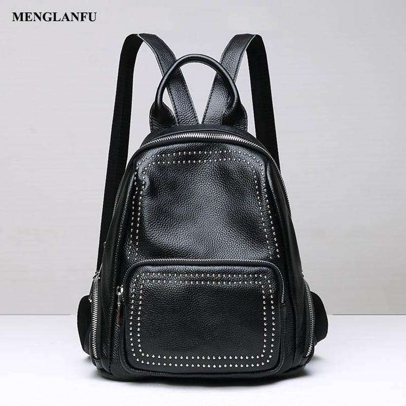 Women's Genuine Leather Backpacks Ladies backpack Casual travel bag Rivet bags fashion Women black backpack large capacity sendefn genuine leather backpack large capacity rivet black shoulder bag women casual backpack teenage girls school travel bags