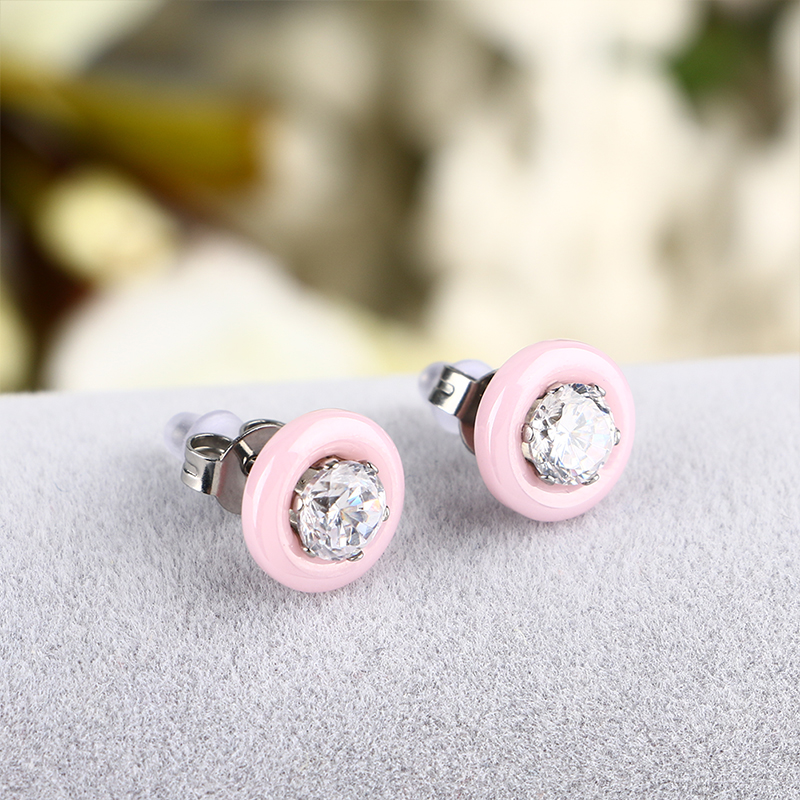32250796eb US $2.6 50% OFF|2018 New Lovely Pink Ceramic Crystal Stud Earrings For  Women Round Crystal Rhinestone Earrings Cubic Zirconia Cute Daily  Jewelry-in ...