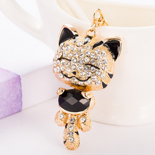 Lucky Smile Cat Crystal Rhinestone Keyrings Key Chains Holder Purse Bag For Car Gift Keychains Jewelry llaveros Fo-K016-black