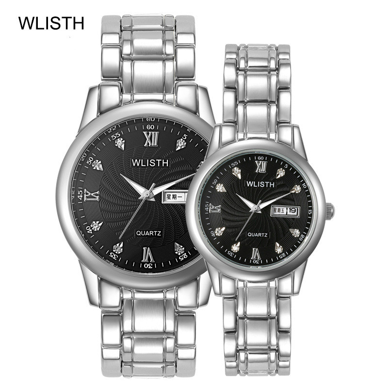 Couple Watch Quartz Expression Waterproof Calendar ZF9951 Pointer Steel-Band Fashionable