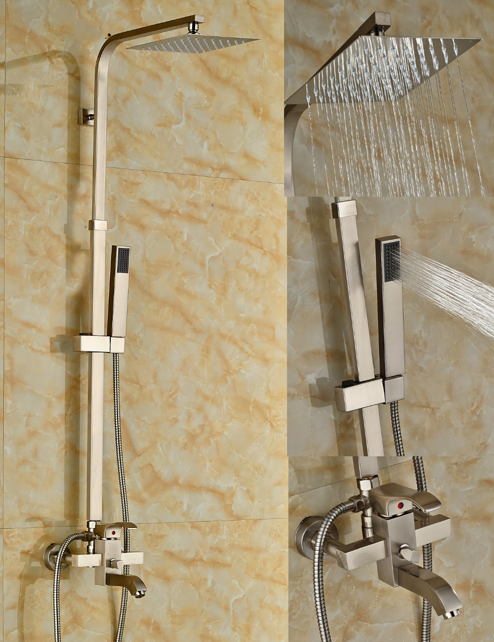 Wholesale And Retail Solid Brass Nickel Brushed Rain Shower Faucet Tub Mixer Tap Valve W/ Hand Shower Sprayer