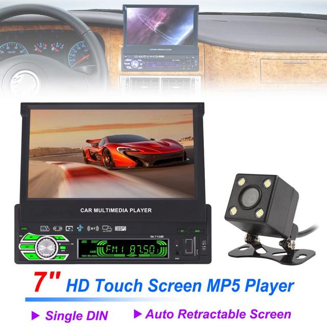 7 1 Din Bluetooth Hd Touch Auto Retractable Screen Car Video Stereo Player Support