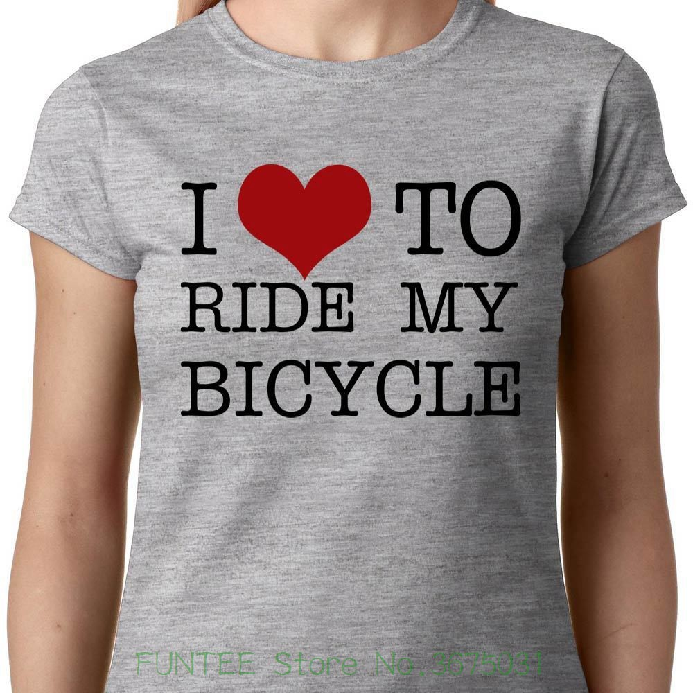 Womens Tee I Love To Ride My Bicycle Ladies T-shirt Cyclist Biker Bmx Queen Race Geek Quote Selling