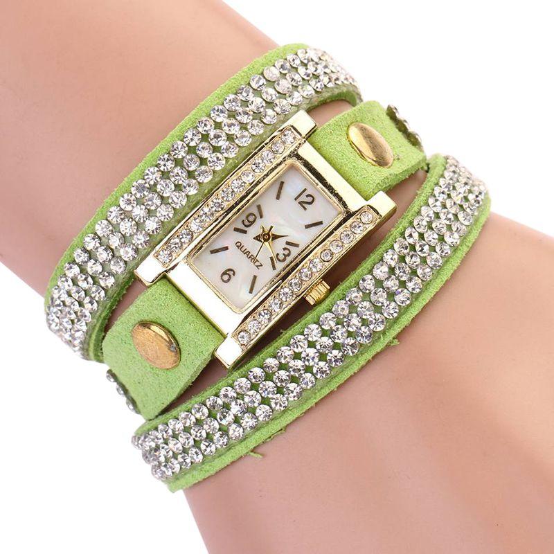 Women Watches Rhinestone Retro Luxury Women Diamonds Multilayer Bracelet Quartz Wristwatches Rectangle Crystal Clocks 4