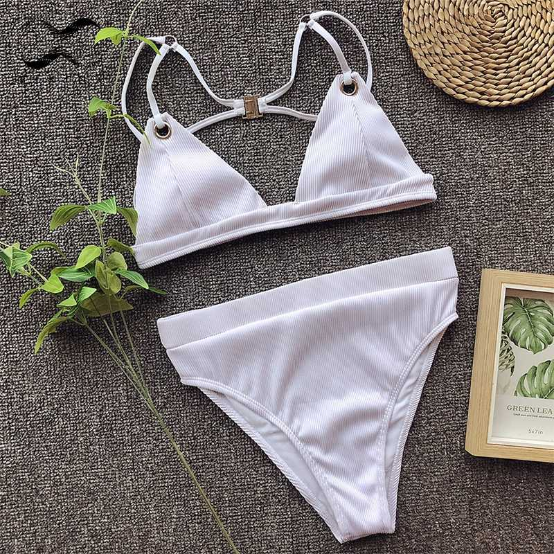 efb196079e1b6e ... Bikinx High waist bikini push up Triangle bondage swimsuit 2019 Buckle  swimwear women Ribbed bathing suit ...