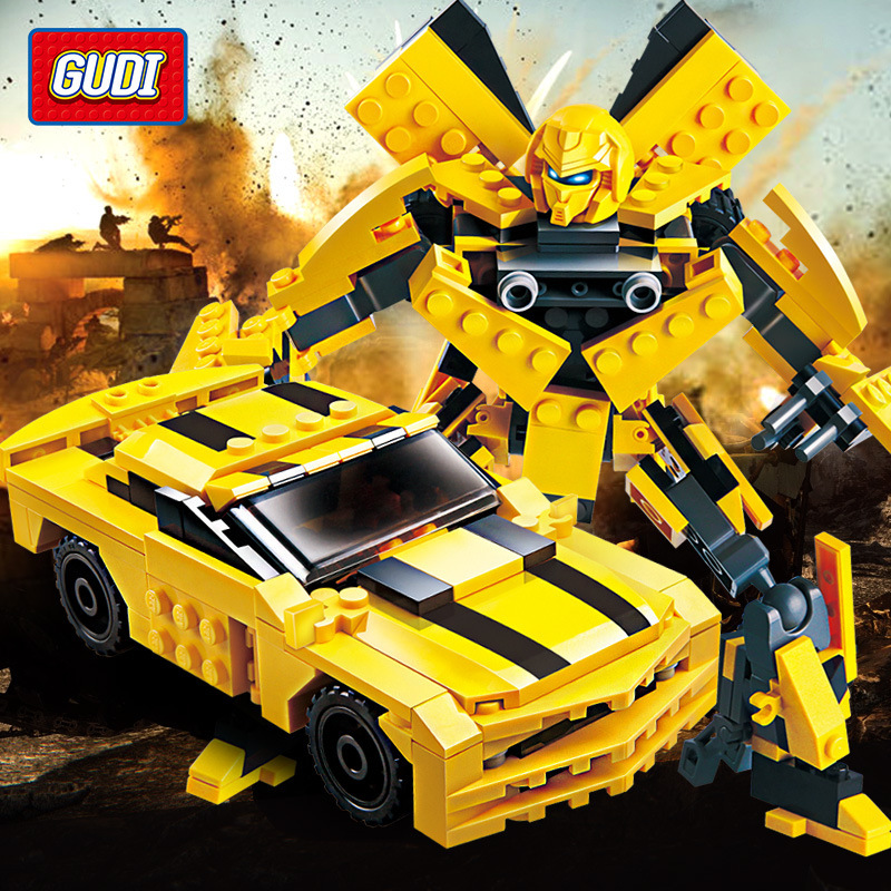 225Pcs Transformation Robot Yellow Car Bricks City Building Blocks Sets Starwars LegoINGLs Creator Educational Toys For Children