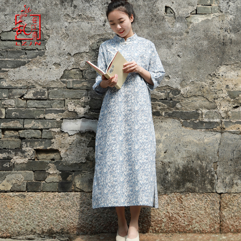LZJN 2019 Women Spring Summer Dress Qipao Long Vintage Cheongsam Floral Print Cotton Chinese Traditional Dress