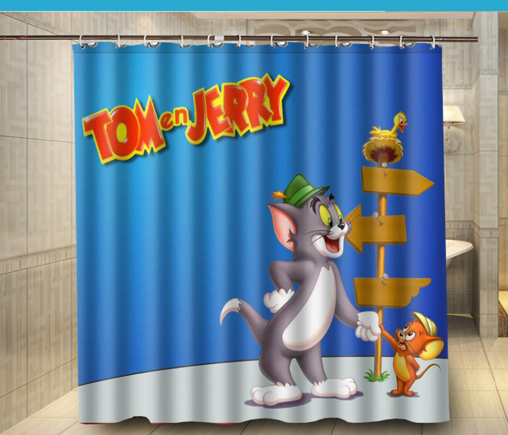 Tom And Jerry Christmas Tree: Tom And Jerry Shake Hands Cartoon Fabric Shower Curtain