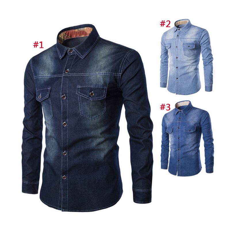 Fashion Men Jeans Shirt Cotton Slim Fit Casual Denim Long Sleeve Solid Shirts Tops Plus Size Camisa Masculina Chemise Homme