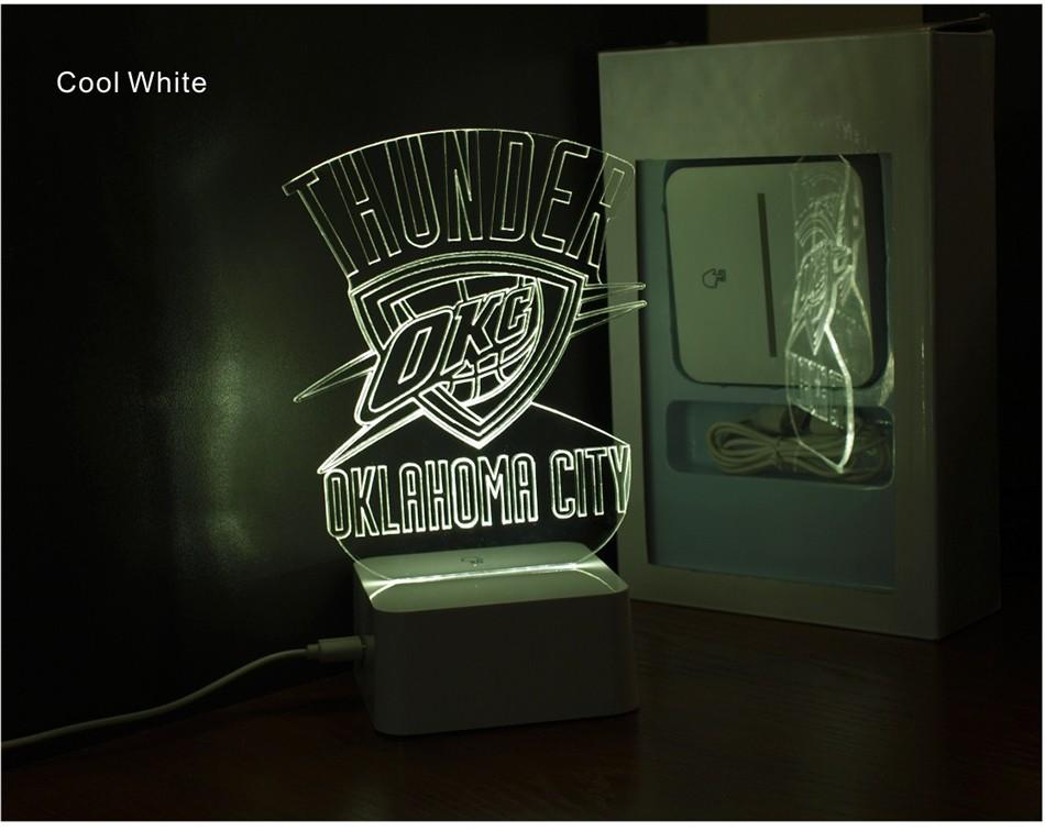 Creative Holiday Gifts for Thunder NBA Desk light Oklahoma City 3D Night Light as Bedroom Lampara (4)