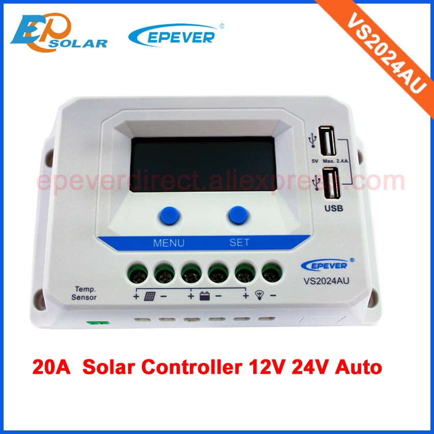 lcd display EPsolar solar charger controller PWM with built in USB port 12v 24v auto type VS2024AU 20A 20amplcd display EPsolar solar charger controller PWM with built in USB port 12v 24v auto type VS2024AU 20A 20amp