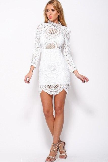 2fed4214ee1 New 2016 Autumn Fashion Women Dress Vintage Dress Bohemian Style White/Black  Crochet Lace High
