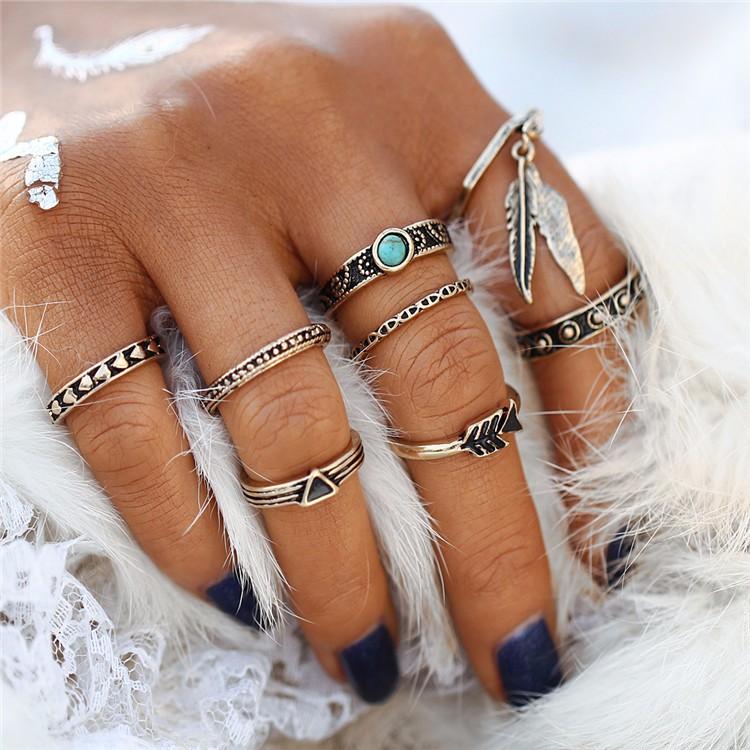 HTB14iZGOFXXXXc1aXXXq6xXFXXXE Women 8-Pieces Gold Tone Retro Antique Punk Style Spirituality Lucky Knuckle Ring Set