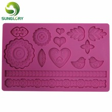 free shipping 2014 new rectangle 100% foodgrade 3d silicone  cake mold,cake decorating fondant mould