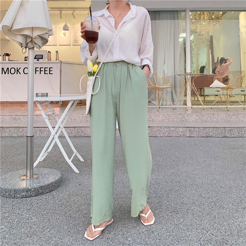 HziriP Casual 2019 Solid Brief Fashion High Waist Dropping Summer Elastic Pleated Solid Women Fresh Loose Free Wide Leg Pants